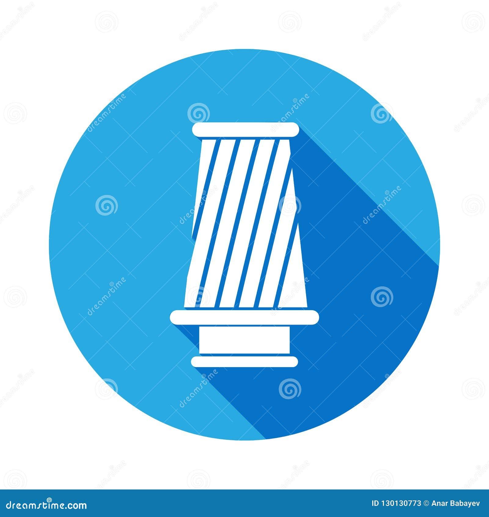 Kottefiltersymbol med lång skugga Beståndsdel av illustrationen för bilreparationsservice Tecken och symbolsymbol för websites, r