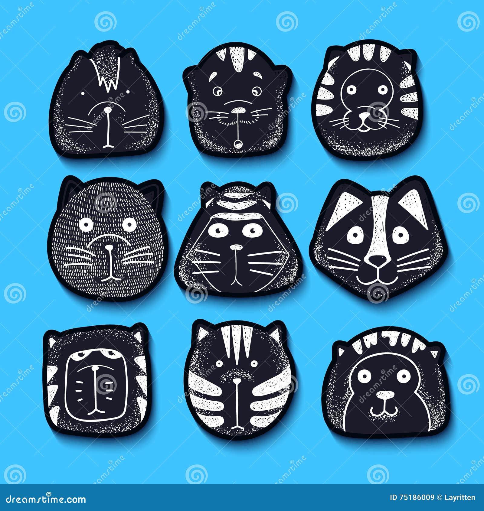 Koty ustawiający śliczny doodle Żartuje charakterów zwierzęta