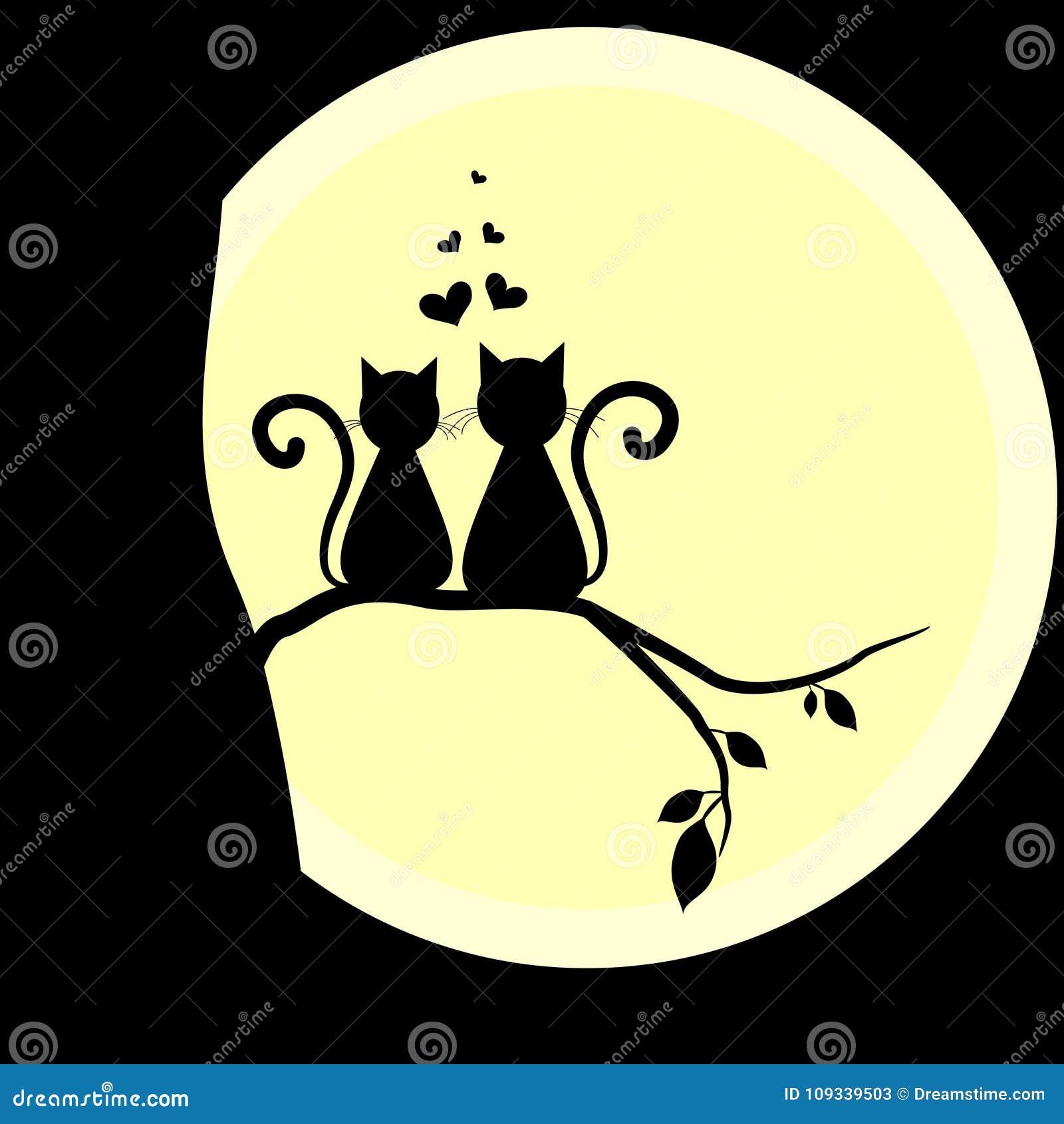 Koty w miłości z księżyc Kochankowie również zwrócić corel ilustracji wektora