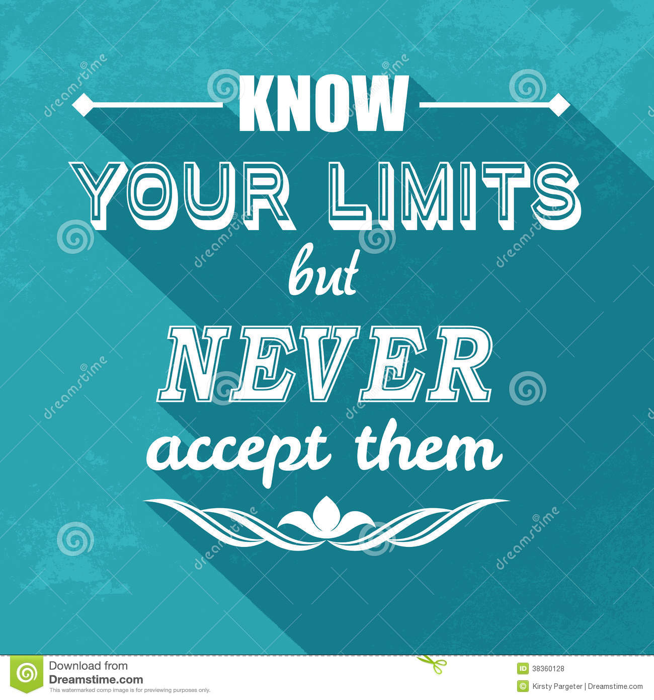 kow your limits quotation stock vector  image of