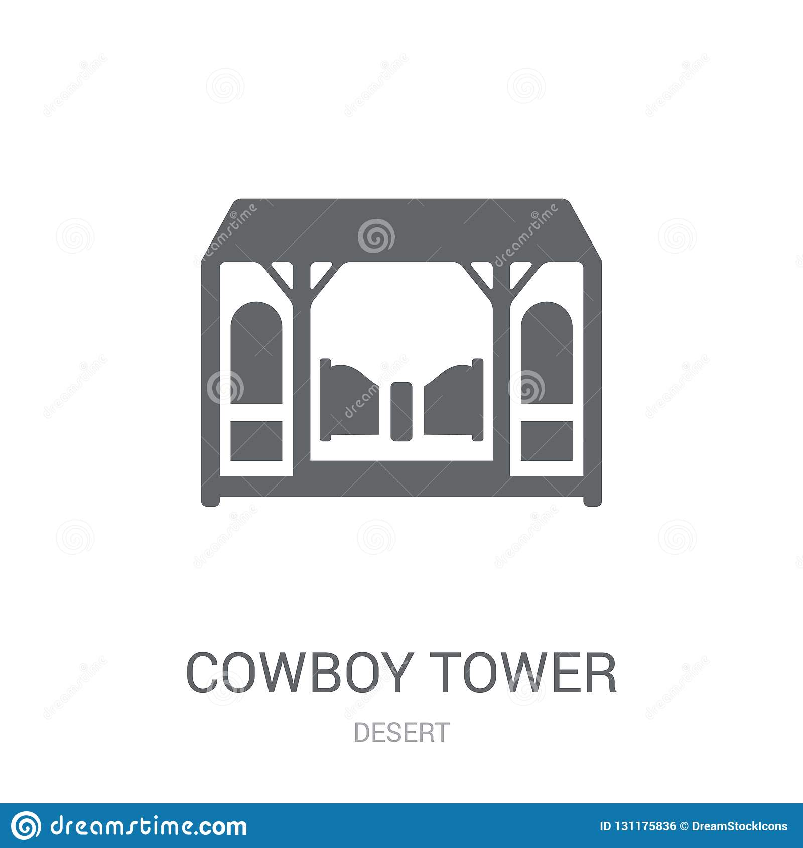 Kowboj Basztowa ikona Modny kowboja wierza logo pojęcie na białym bac