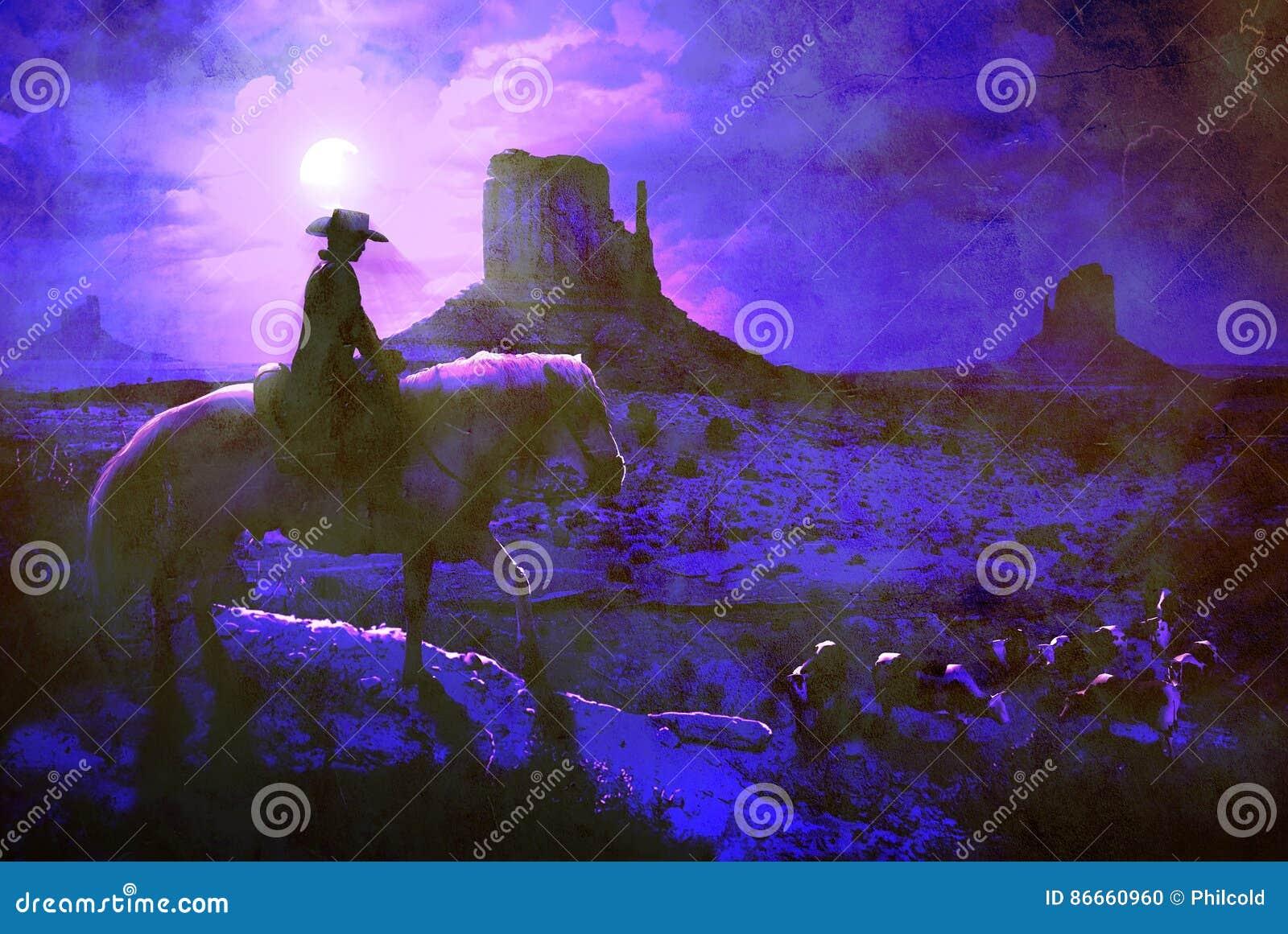 Kowboj przy nocą