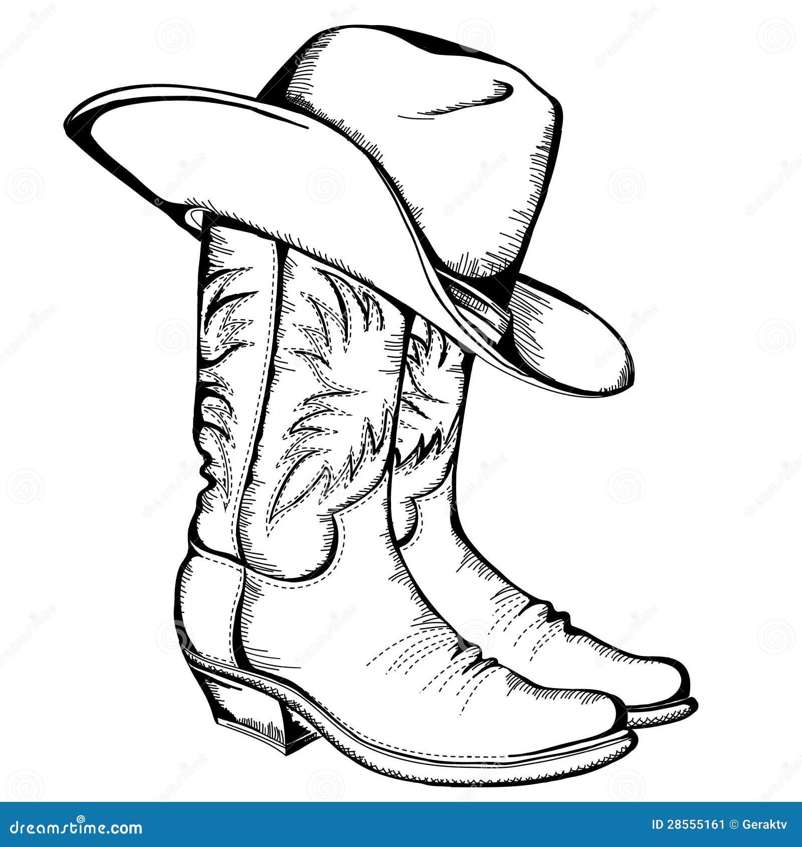 Kowbojscy buty i kapelusz.