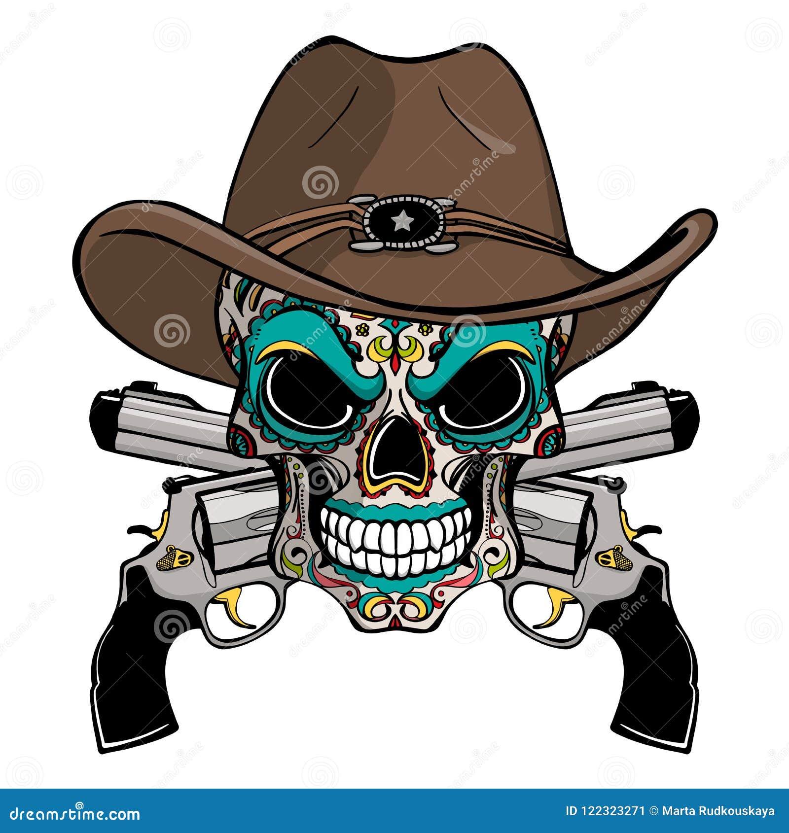 Kowbojska czaszka w zachodnim kapeluszu i para krzyżujący pistolety