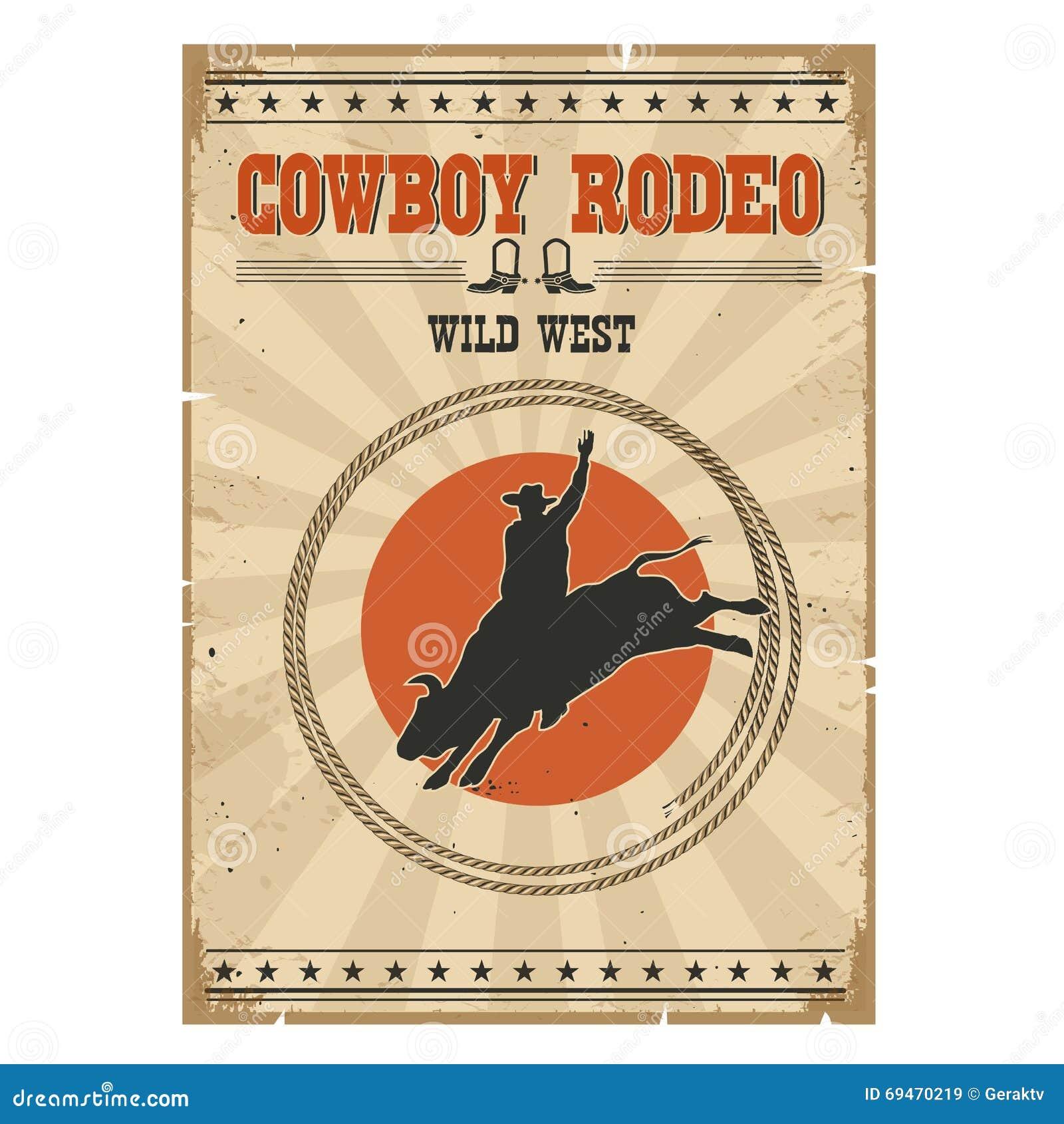 Kowbojski dziki byka rodeo plakat Zachodnia rocznik ilustracja z
