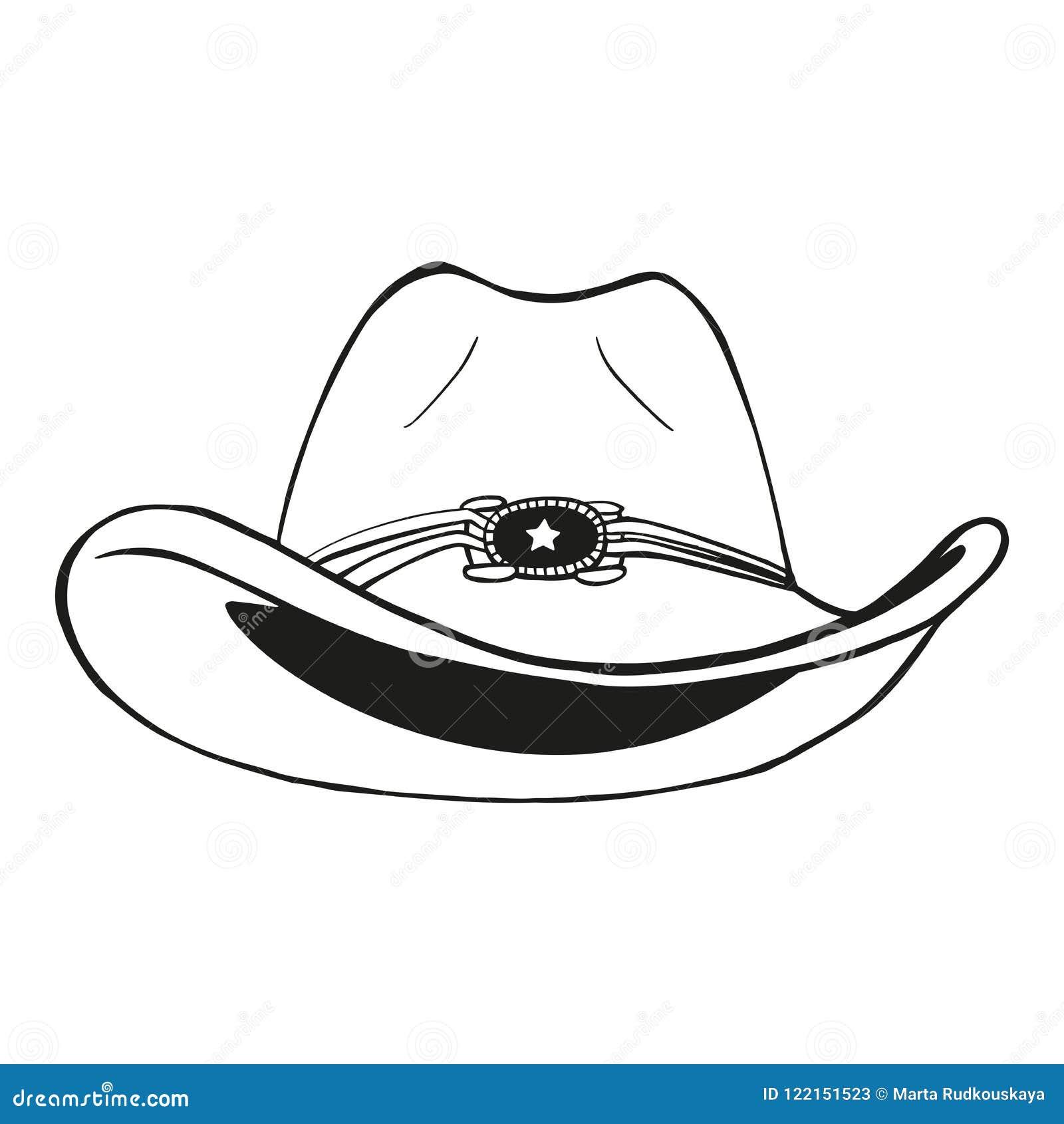 Kowbojski kapelusz - rocznik grawerująca wektorowa ilustracja