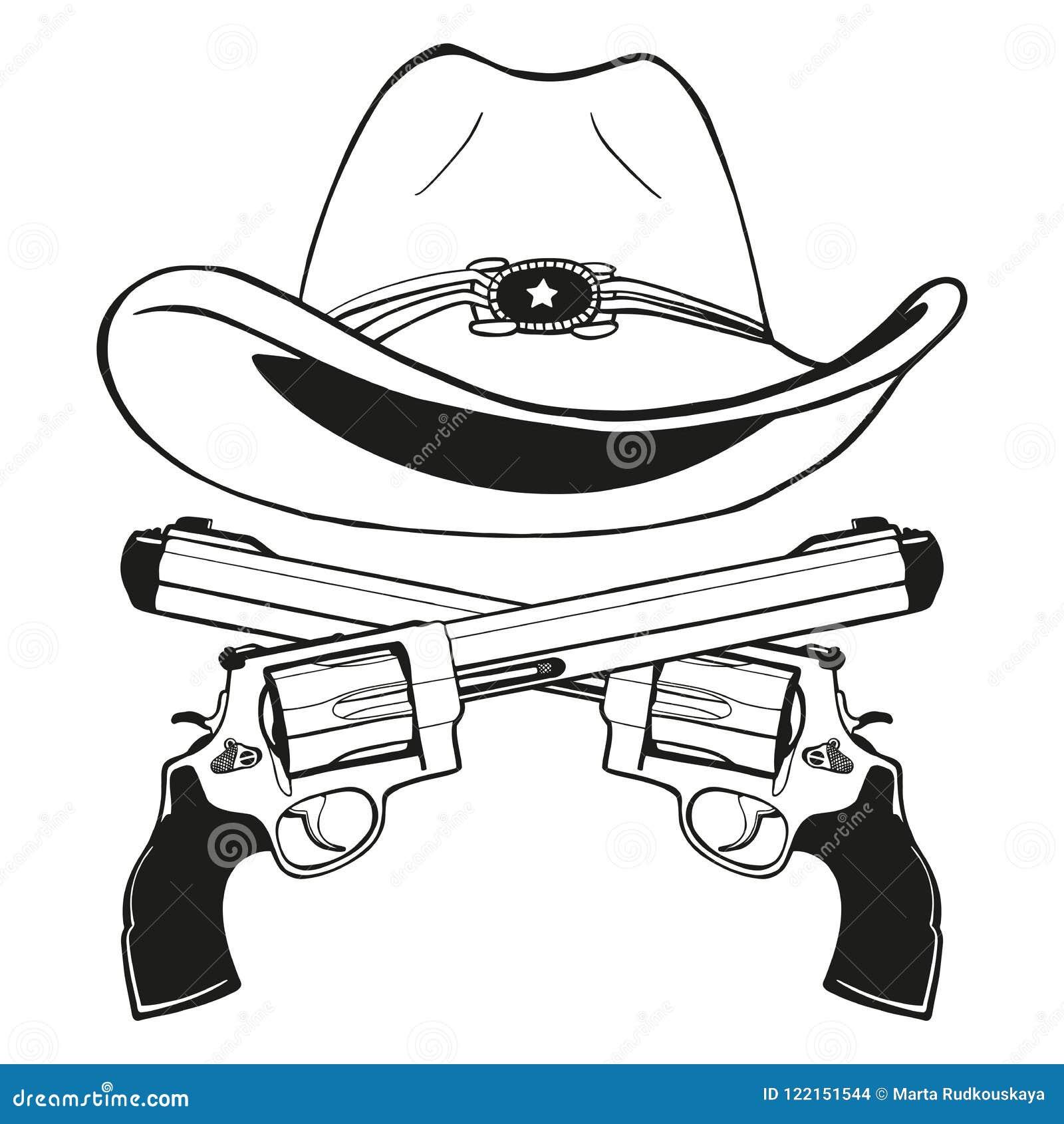 Kowbojski kapelusz z parą krzyżujący pistolety