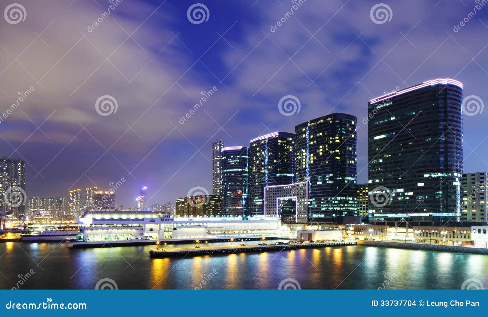 Kowloon городской на ноче