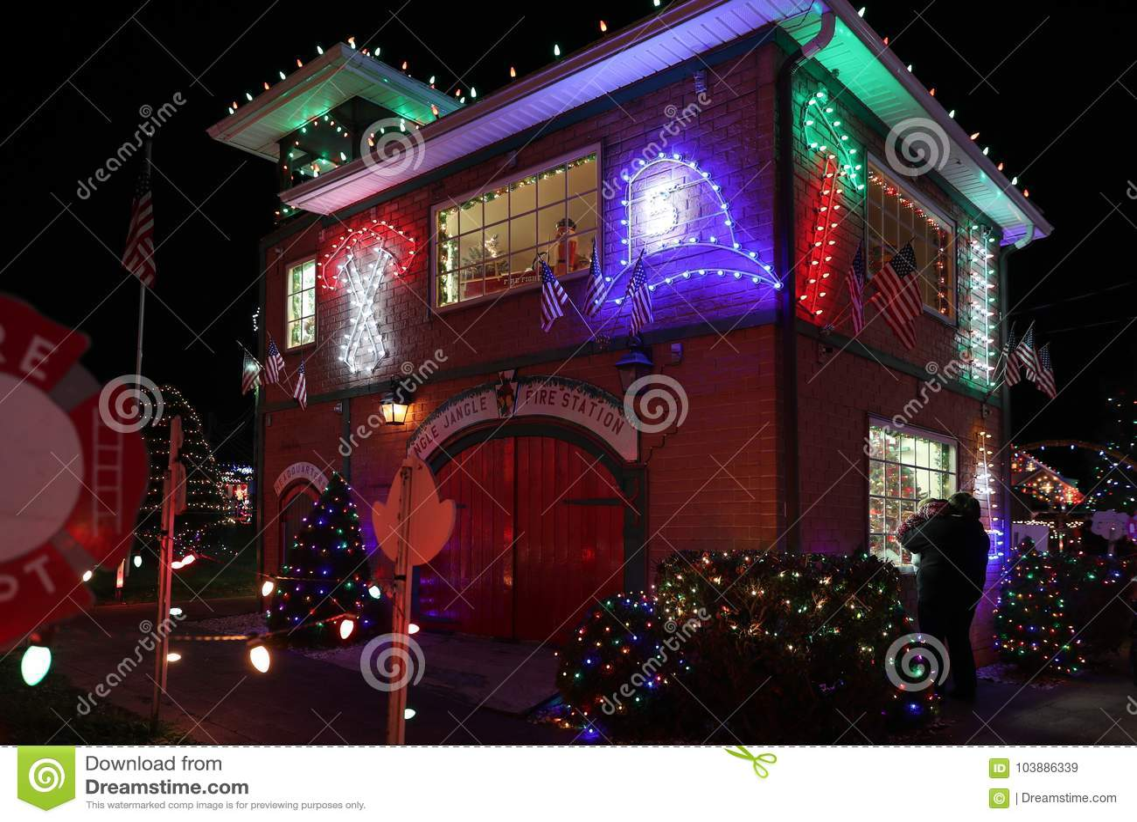 Christmas Village Pa.Koziar S Christmas Village Light Show Editorial Stock Image