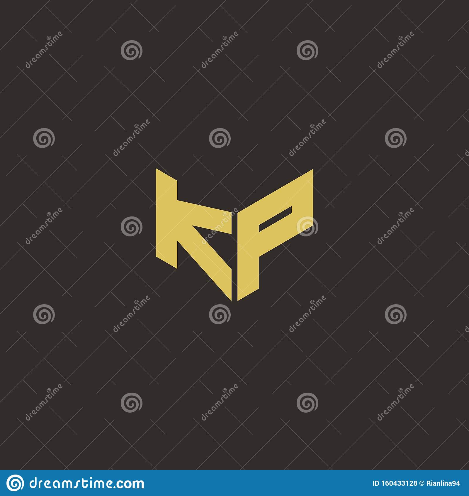 KP Logo Letter Initial Logo Designs Template With Gold And
