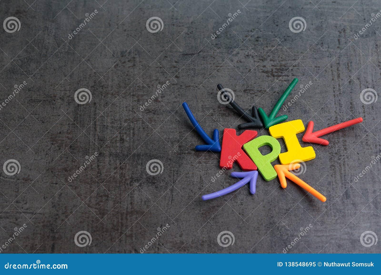 KPI, blanco del negocio del indicador de rendimiento clave o cuenta para medir éxito en concepto de la campaña de marketing por l
