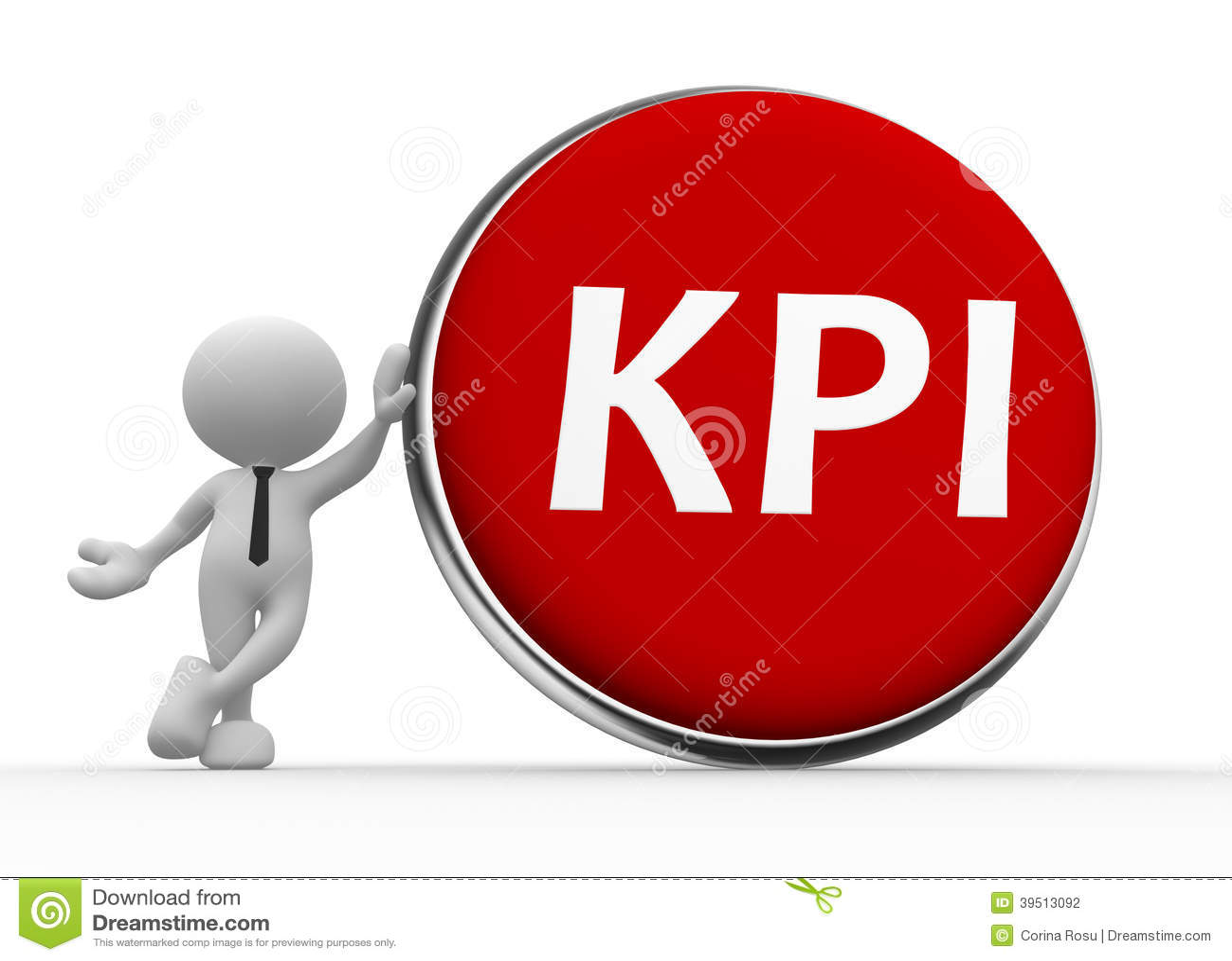 Kpi Key Performance Indicator Button Stock