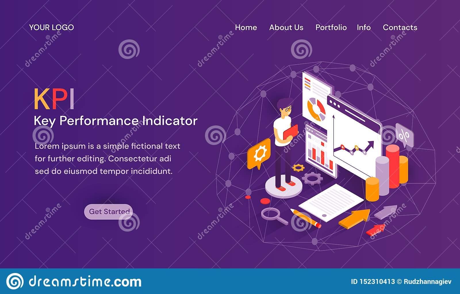 KPI Key Performance Indicator website template with header tabs, room for text above a Get Started button