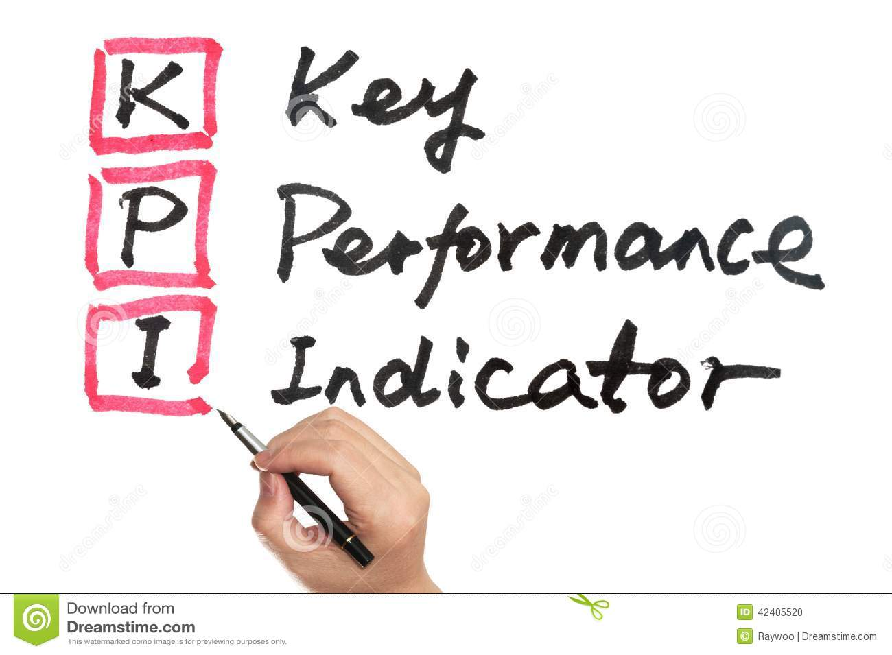 key performance indicator drawings on a post notes royalty