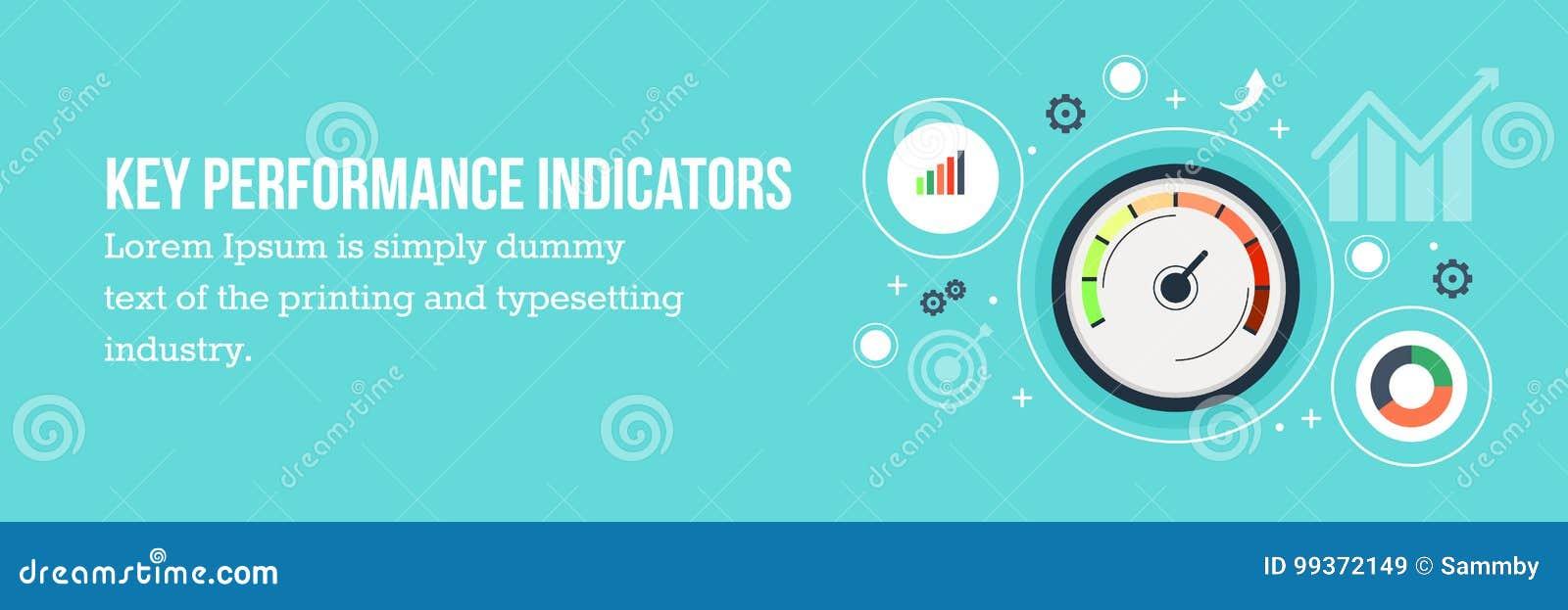 KPI - Key performance indicators flat design web banner.