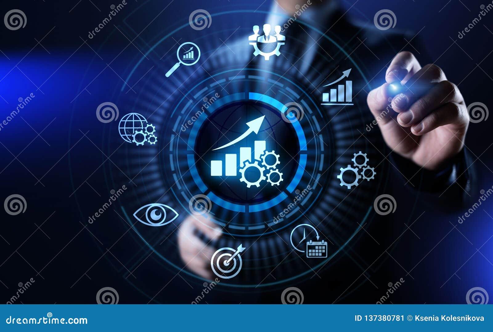 KPI-Schlüsselleistungsindikatorzunahmeoptimierungsgeschäft und industrieller Prozess