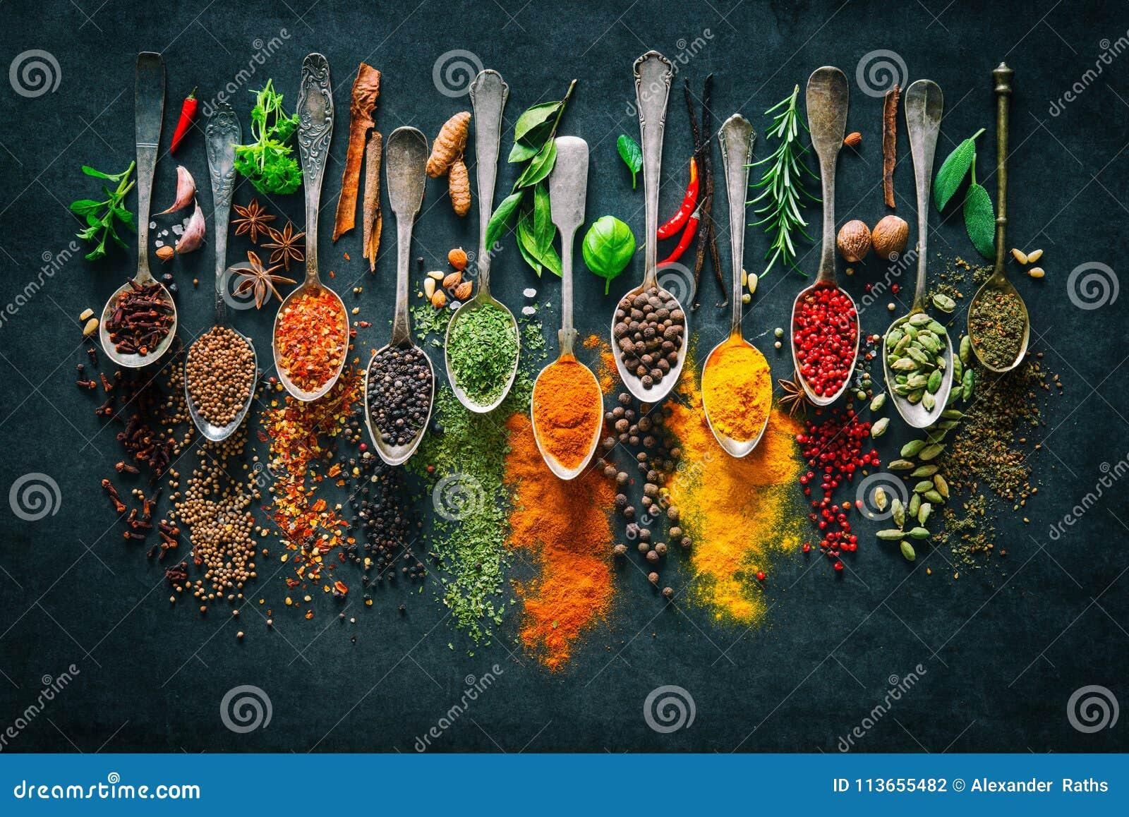 Kräuter und Gewürze für das Kochen auf dunklem Hintergrund