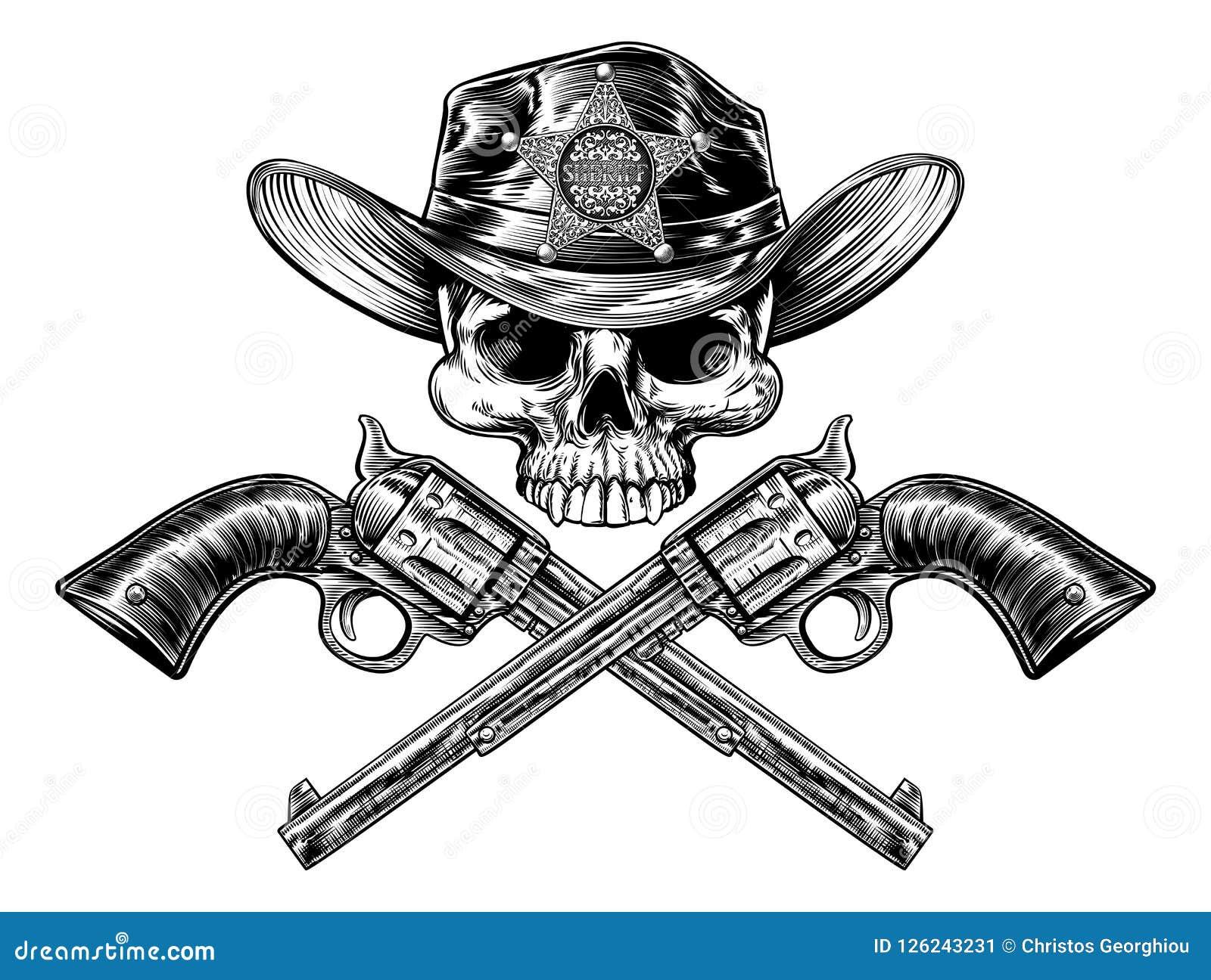 Krócic i szeryfa odznaki kowbojskiego kapeluszu Gwiazdowa czaszka
