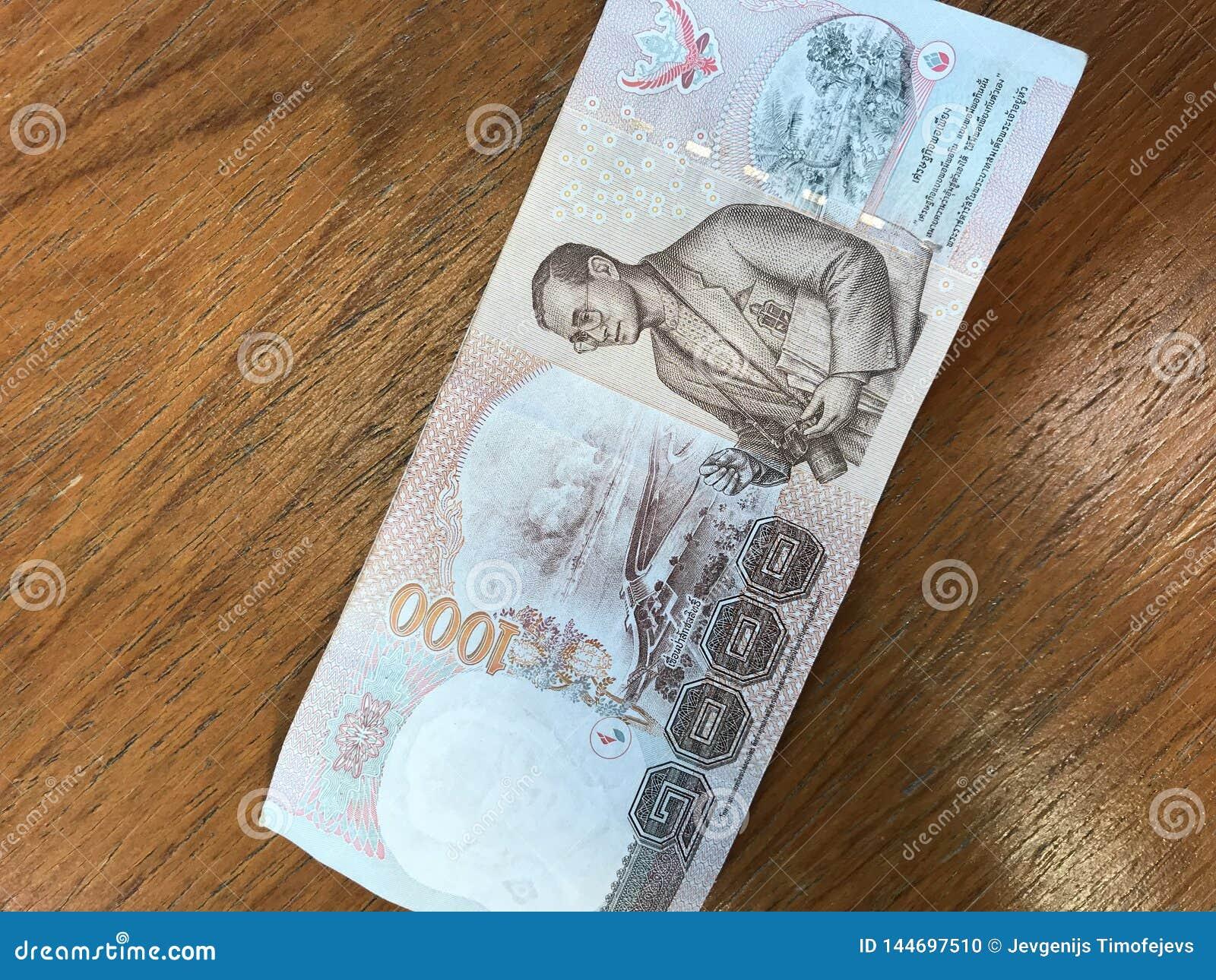 Królewiątko Bhumibol Adulyadej na 1000 nietoperzy banknocie Tajlandia