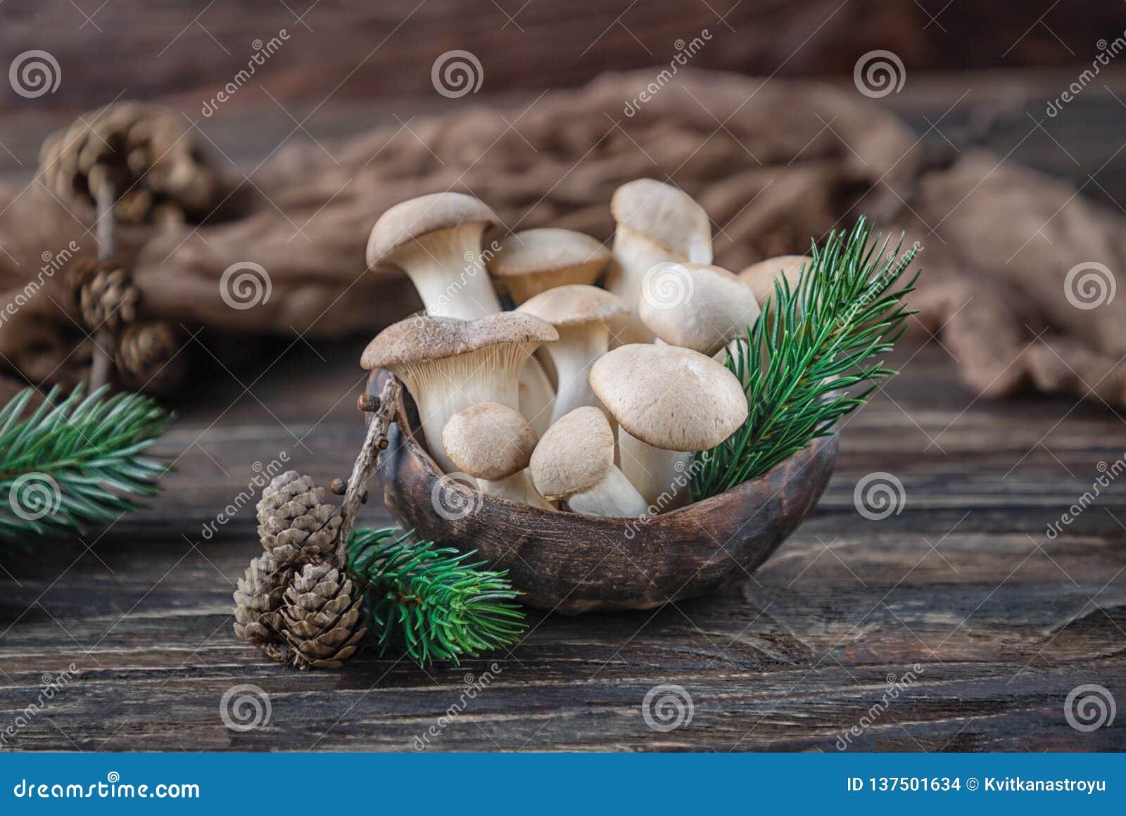 Królewiątko ostrygowych pieczarek pleurotus eryngii na drewnianym tle Wieśniaka styl