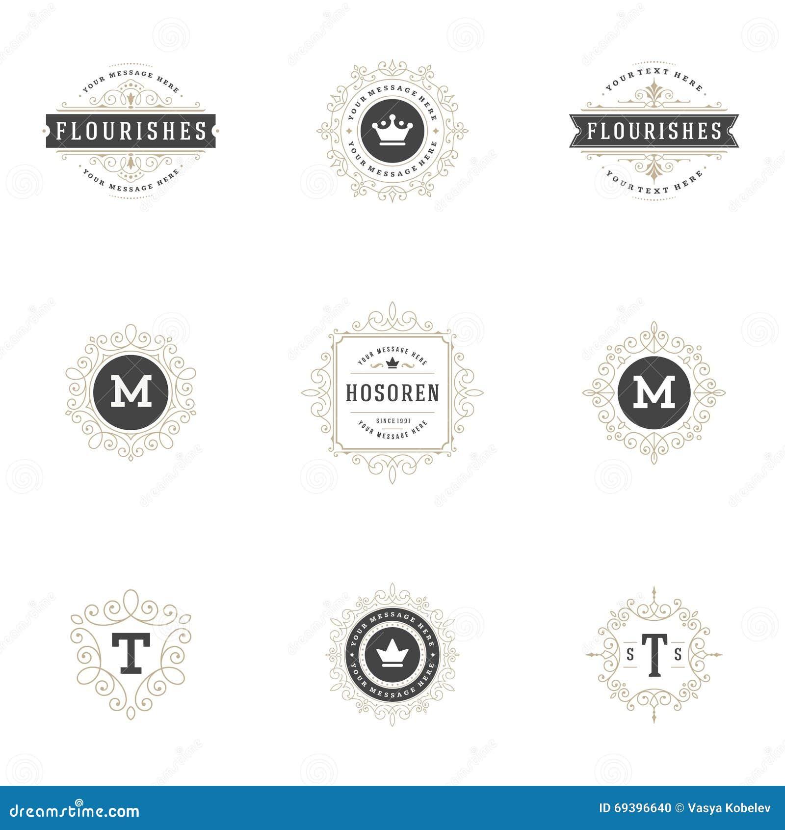 Królewscy logowie Projektują szablony Ustawiających, zawijasa ornamentu Kaligraficzne Eleganckie linie