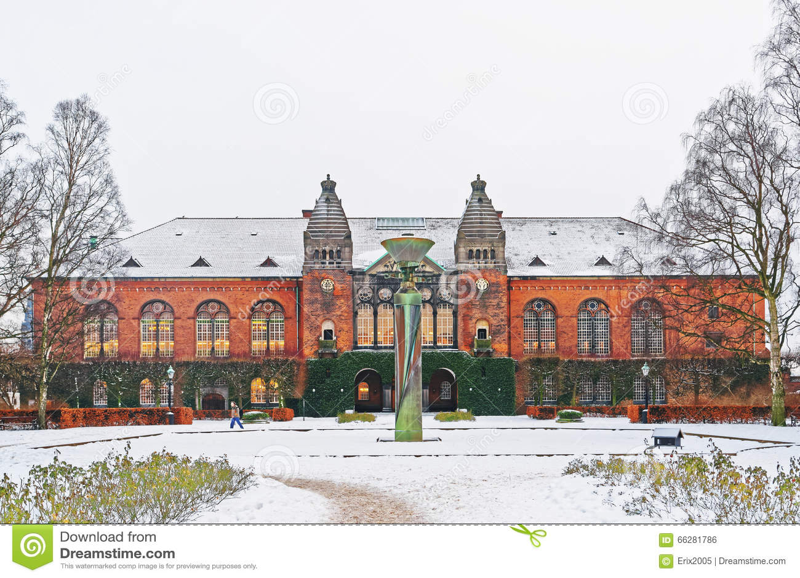 Królewska biblioteka w Kopenhaga w zimie
