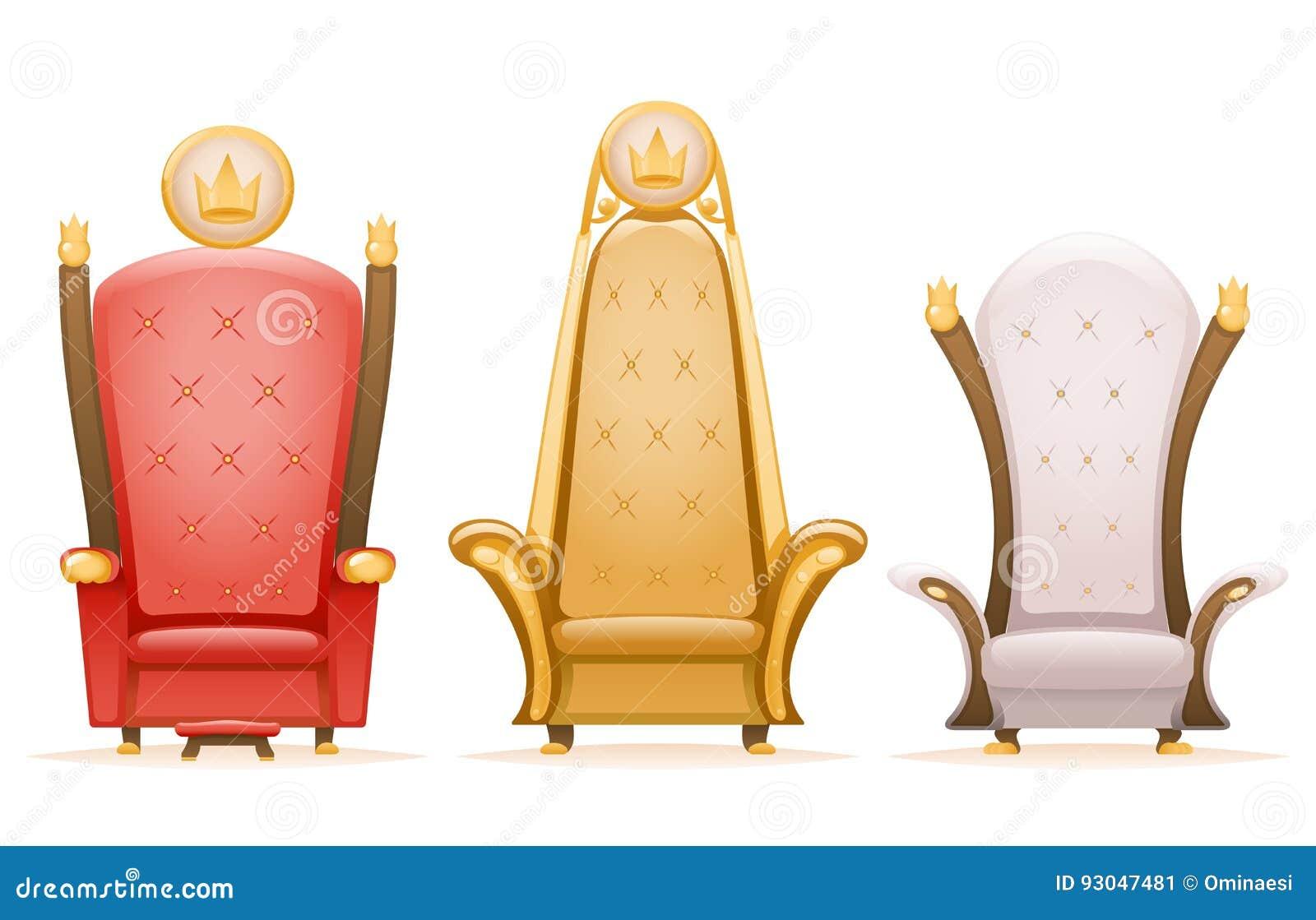 Królewska tronowa królewiątko władcy bajki karła kreskówka 3d odizolowywał ikona ustawiającą wektorową ilustrację