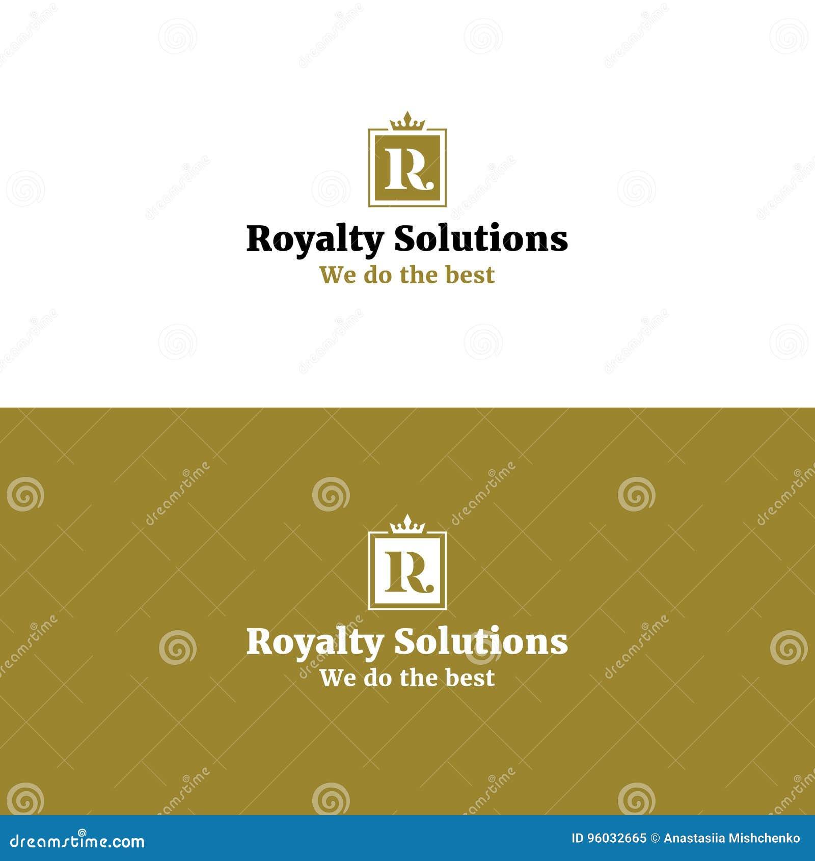 Królewski abstrakta R listu logo z koroną