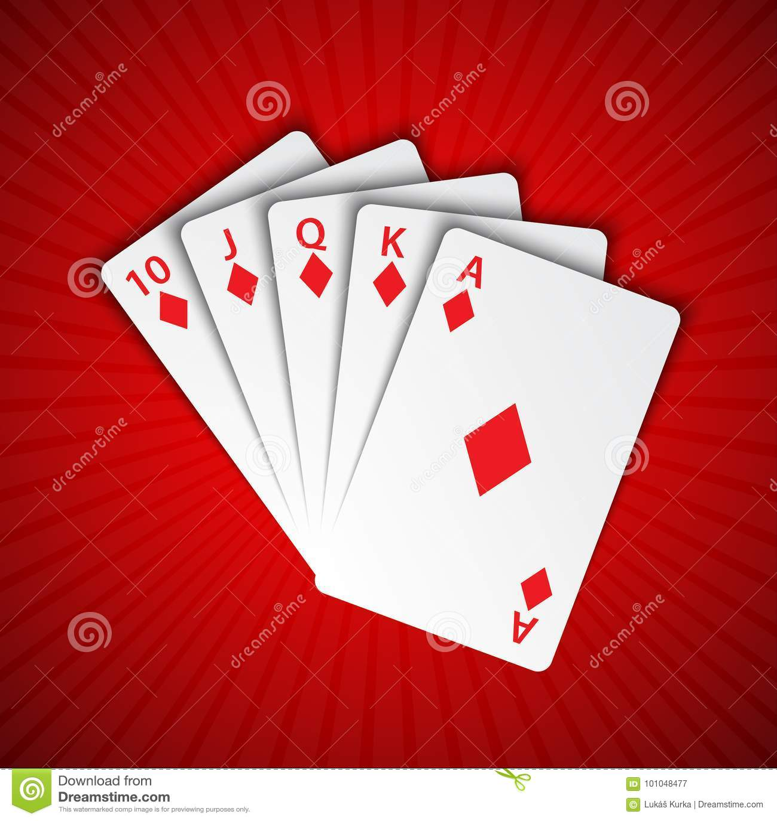 Królewski sekwens diamenty na czerwonym tle, wygrywa ręki