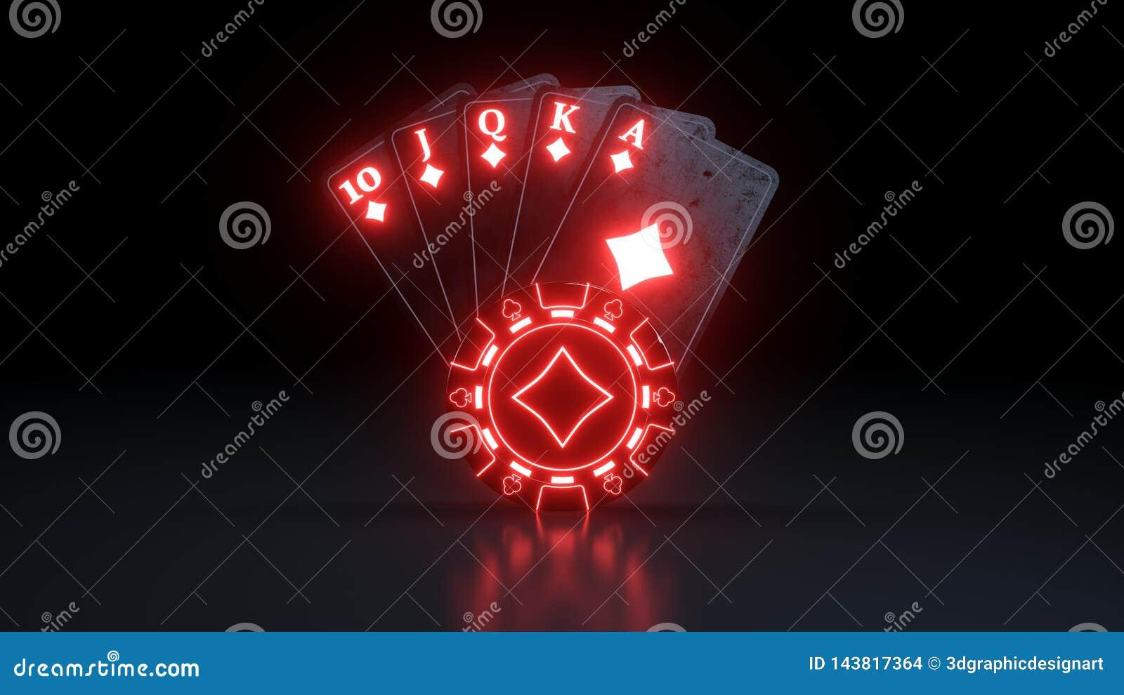 Królewski sekwens w Karowych grzebak kartach do gry Z Neonowymi światłami Odizolowywającymi Na Czarnym tle - 3D ilustracja