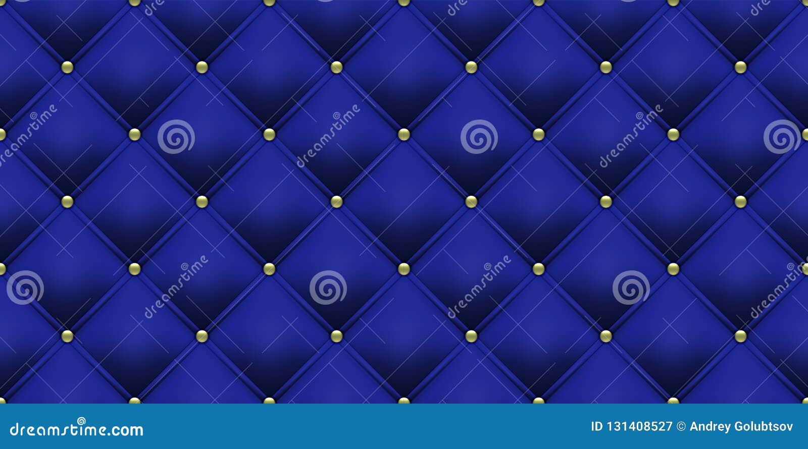 Królewskiego błękita tła złota guzików wzór Wektorowy skóry lub aksamita rocznika luksusowy tapicerowanie z złotymi guzikami bezs