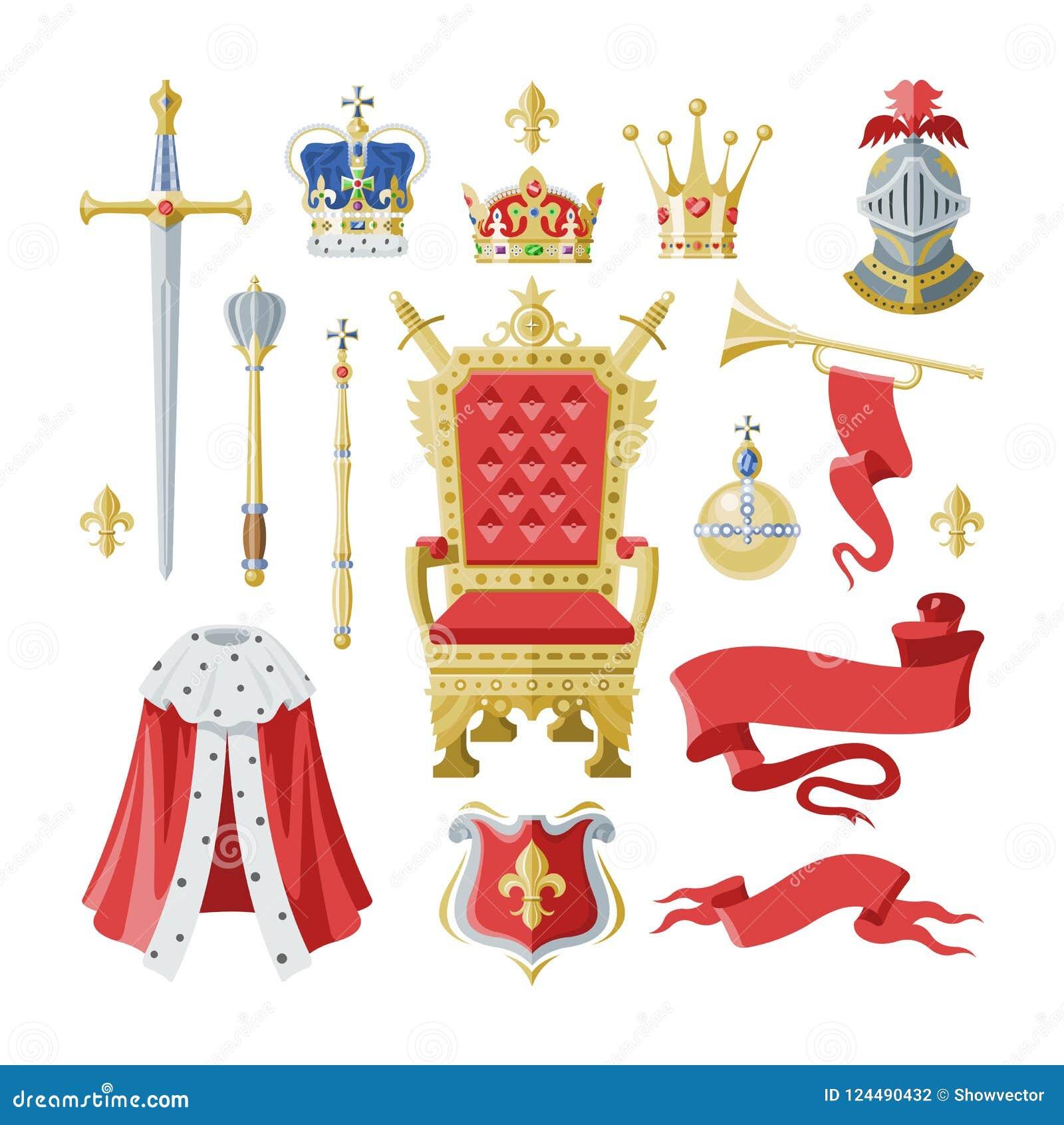 Królewskości korony wektorowy złoty królewski symbol królewiątka princess i królowej ilustraci znak koronować książe władzy set