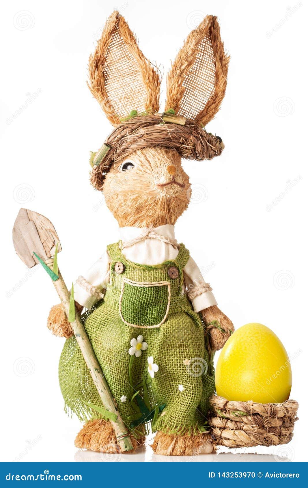 Królik z koszem i Easter jajkiem odizolowywającymi na białym tle