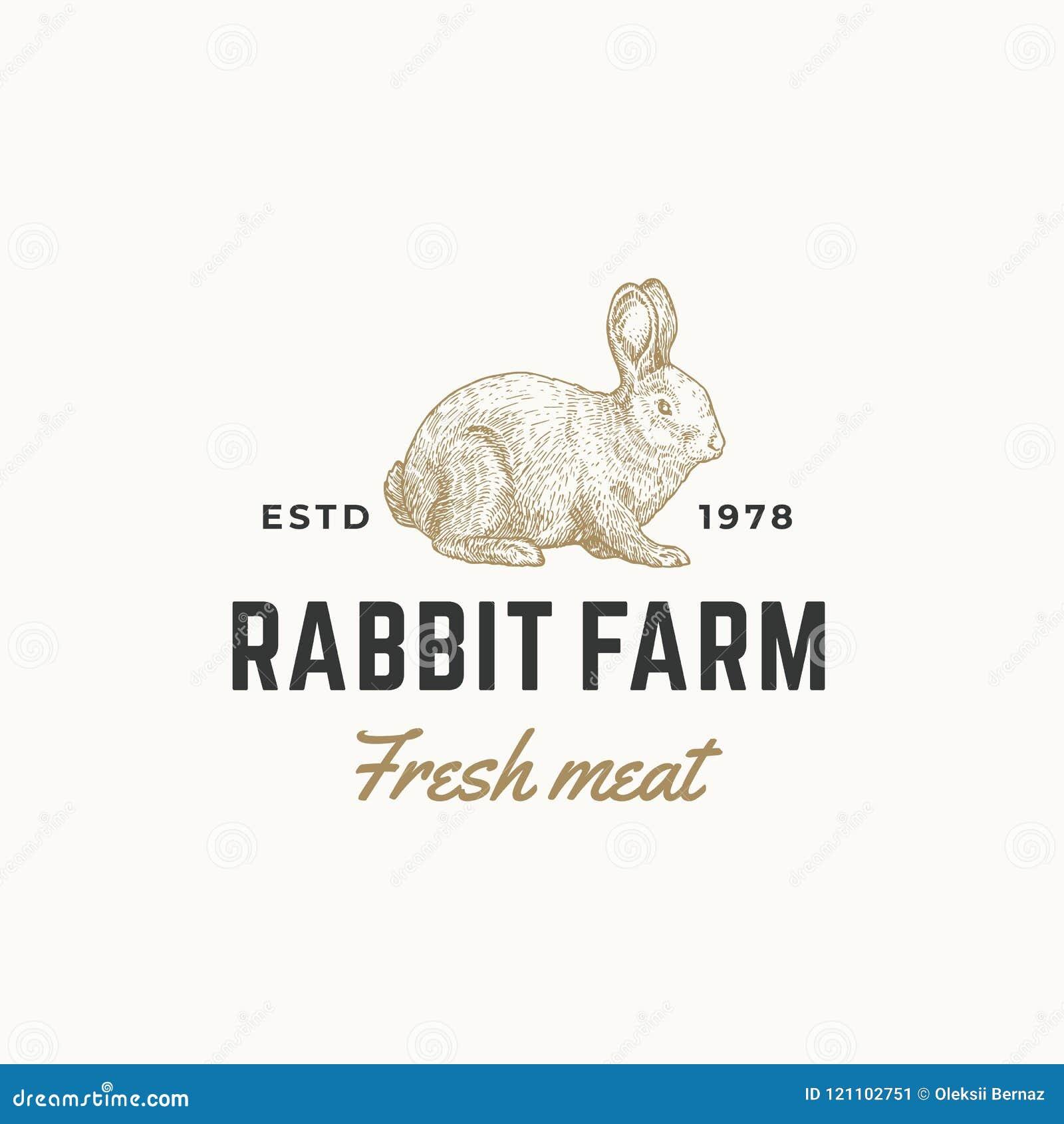 Królika Świeżego mięsa wektoru Rolny Abstrakcjonistyczny znak, symbol lub loga szablon, Ręka Rysująca Grawerujący królika Sillhou