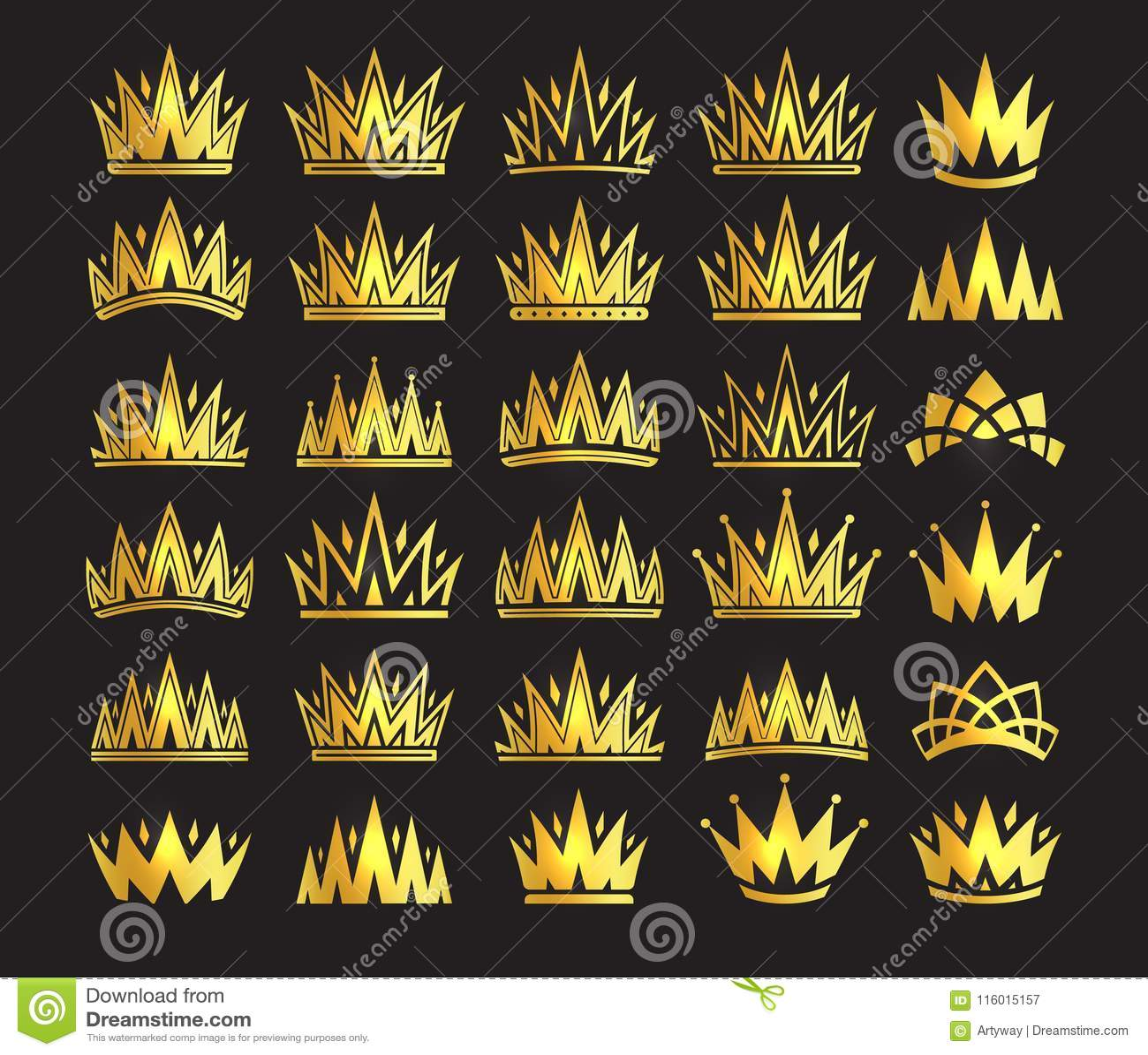 Królowej korona, królewski złocisty pióropusz Królewiątka złoty akcesorium Odosobnionego wektoru ustalone ilustracje Elita klasow