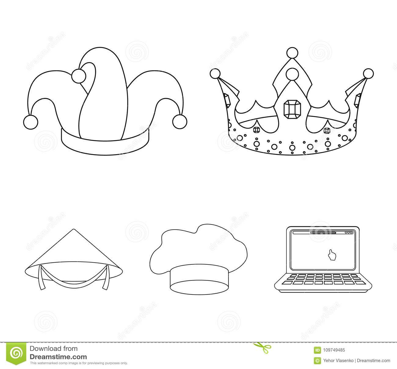Krönen Sie, Spaßvogel ` s Kappe, Koch, Kegel Hüte stellten Sammlungsikonen im Entwurfsartvektorsymbolvorrat-Illustrationsnetz ein