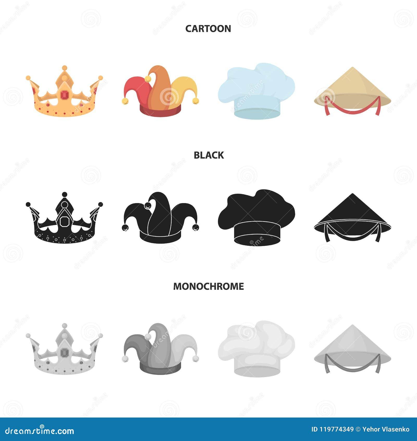 Krönen Sie, Spaßvogelkappe, Koch, Kegel Hüte stellten Sammlungsikonen in der Karikatur, Schwarzes, einfarbiger Artvektor-Symbolvo