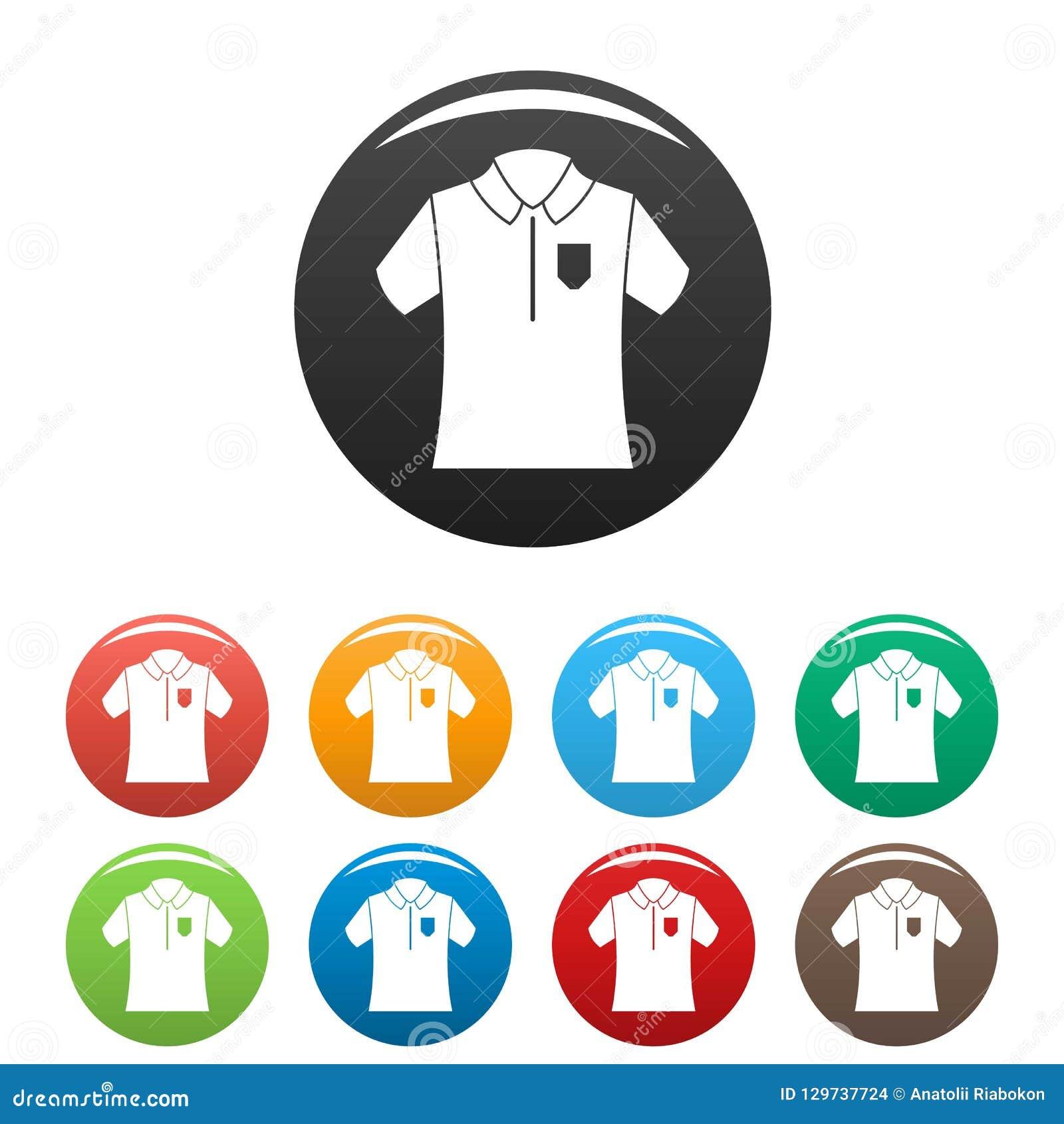Kręgle polo koszula ikona ustawiający kolor