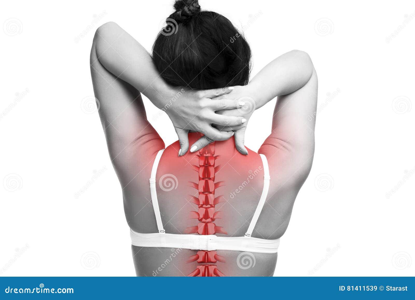 Kręgosłupa ból, kobieta z backache i obolałość w szyi, czarny i biały fotografia z czerwonym kręgosłupem