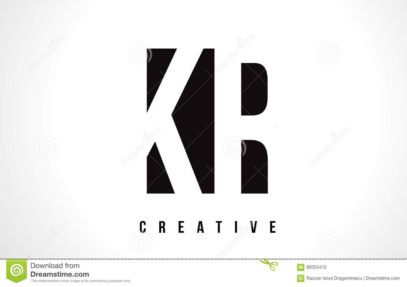 Kr K R White Letter Logo Design With Black Square Stock Photo