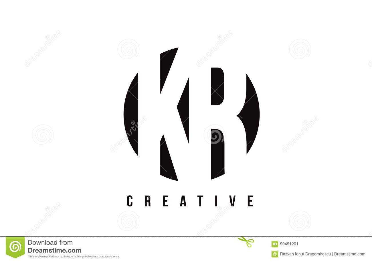 Kr K R White Letter Logo Design With Circle Background