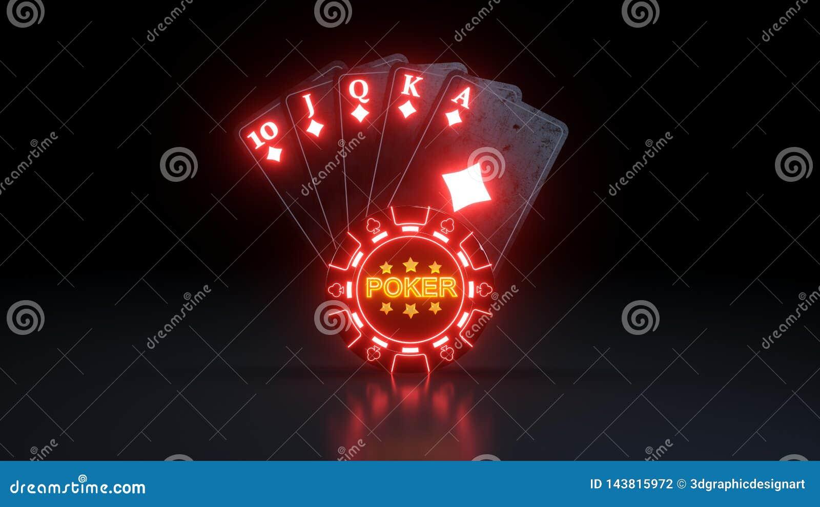 Kr?lewski sekwens w Karowych grzebak kartach do gry Z Neonowymi ?wiat?ami Odizolowywaj?cymi Na Czarnym tle - 3D ilustracja