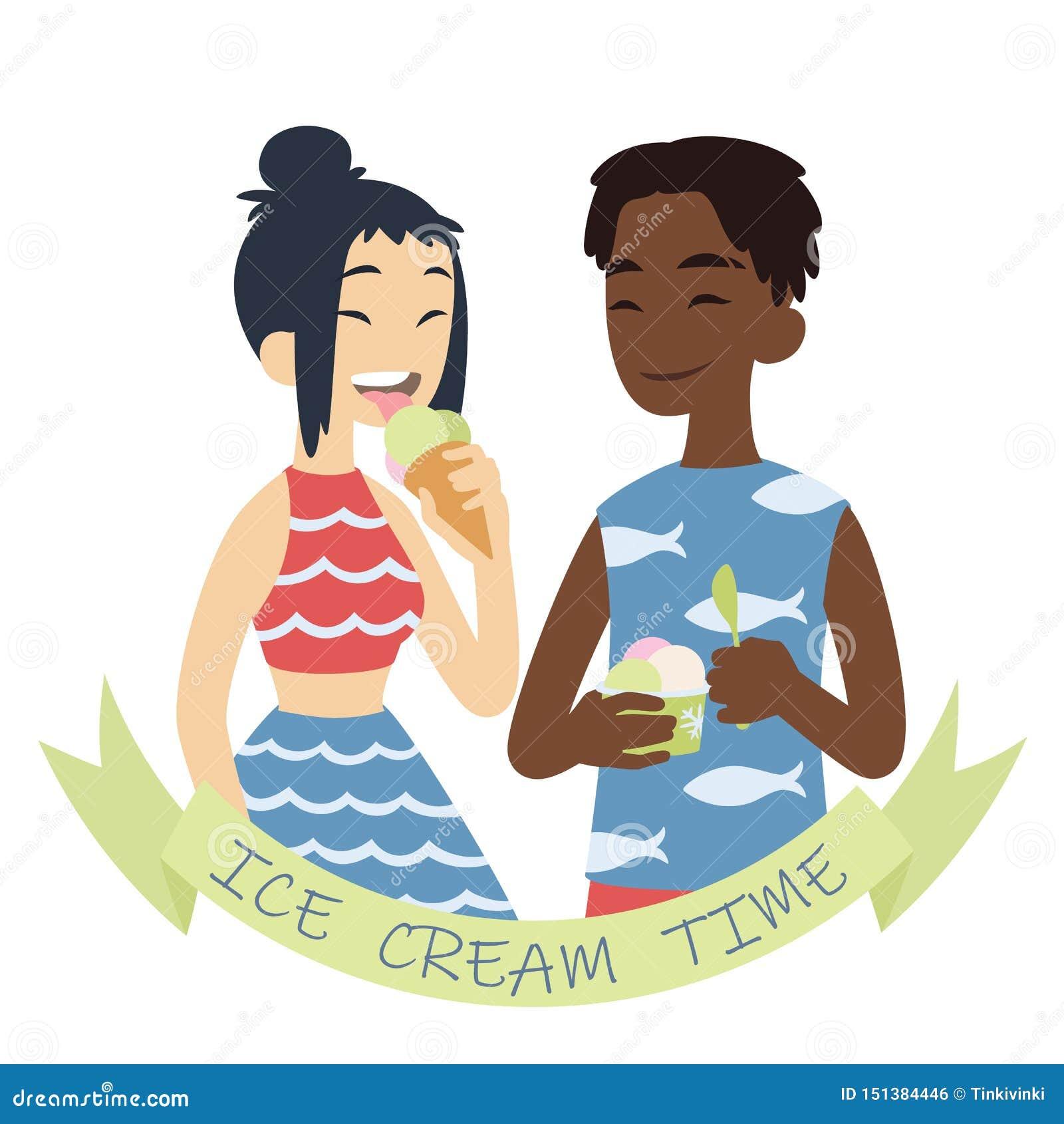 Kr?m- is f?r par Vektorillustration av m?ngkulturella par p? vit bakgrund Afrikansk pojke med hand-packat