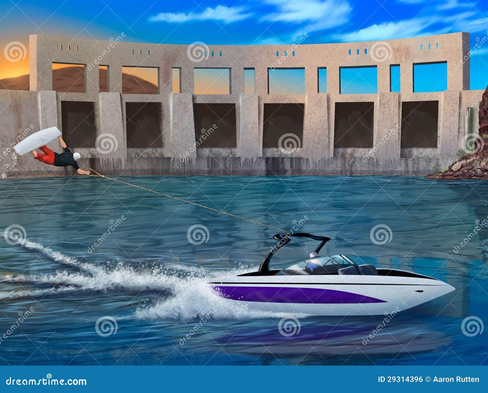 Krańcowy Wakeboarder i łódź motorowa - cyfrowa grafika