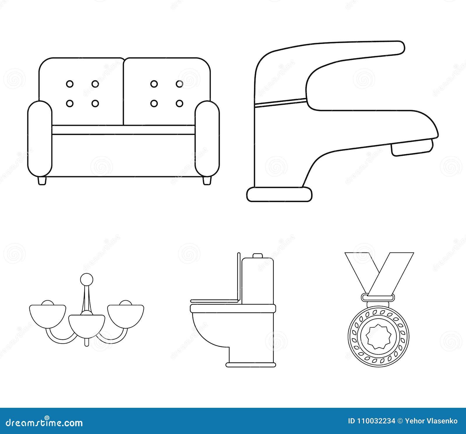 Kraan, bank, toilet, kroonluchter Pictogrammen van de meubilair de vastgestelde inzameling in van de het symboolvoorraad van de o