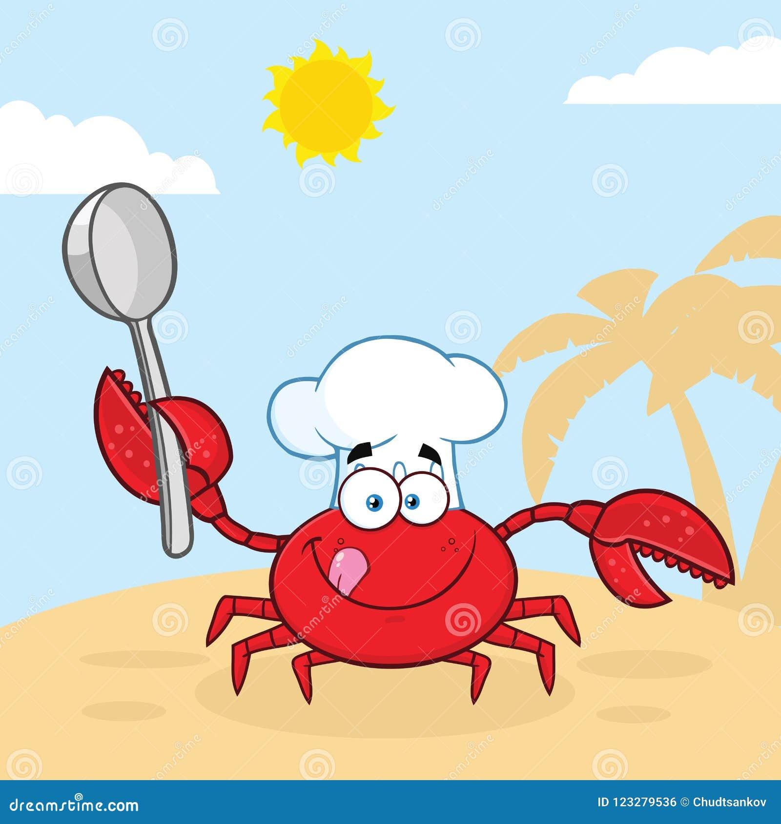 Krabbakock Cartoon Mascot Character som rymmer en sked