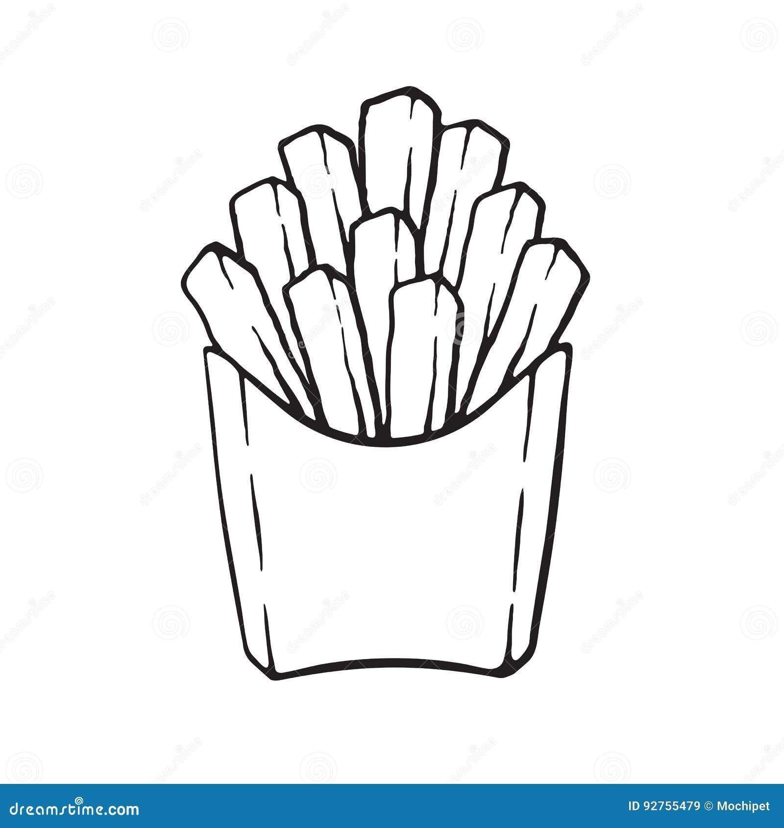 krabbel frieten in een document pak vector illustratie