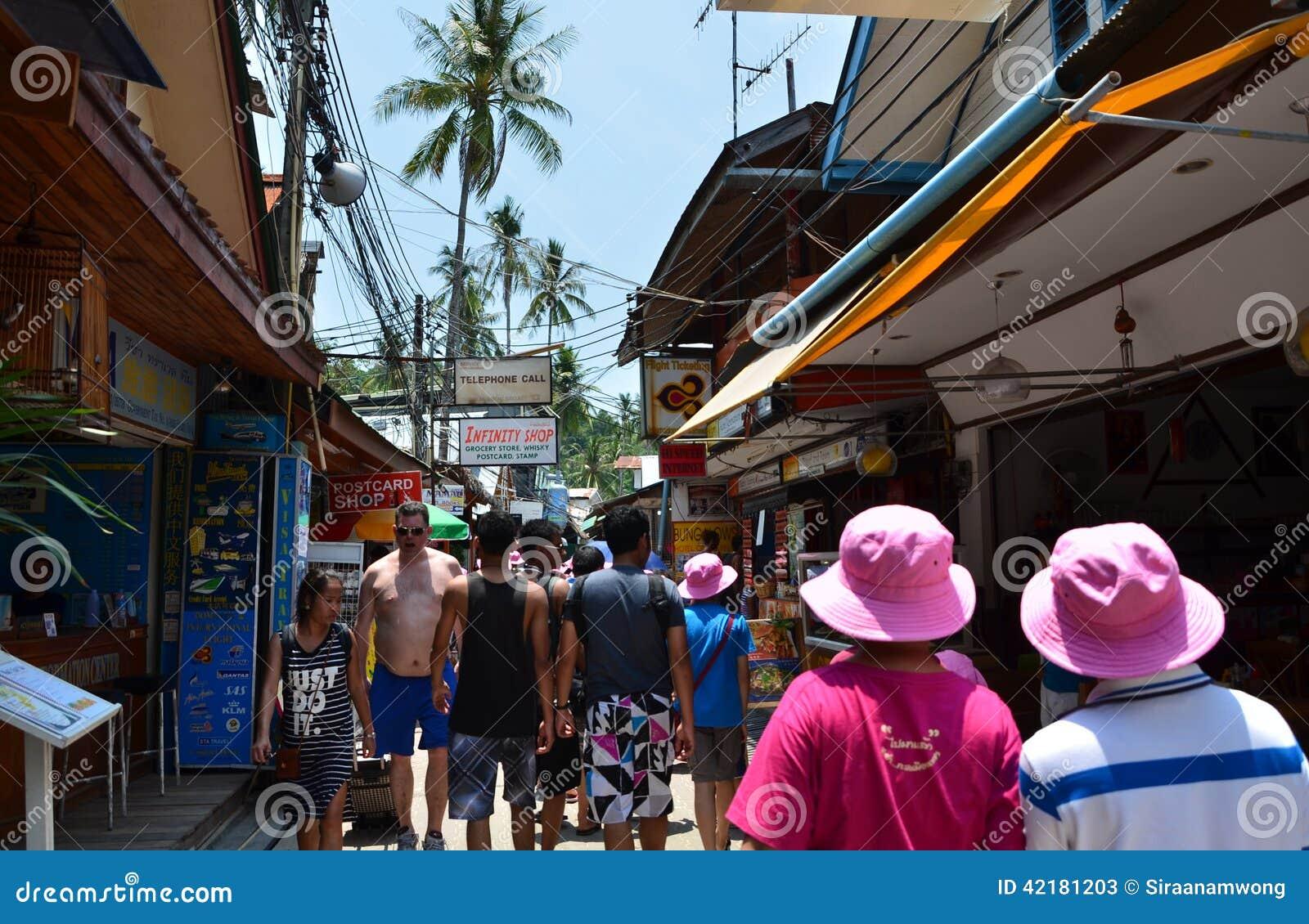 KRABI,THAILAND - APRIL 14, 2014 : The tourist visit small touristic village at Phi Phi island