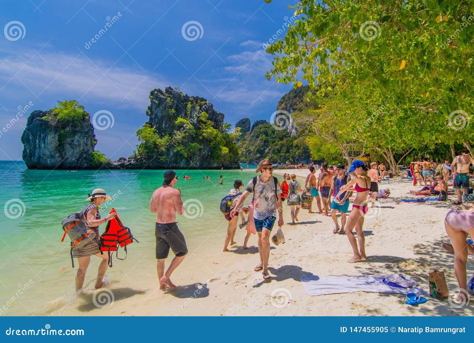 Krabi Thailand February 23 2019 Many Tourists With Summer