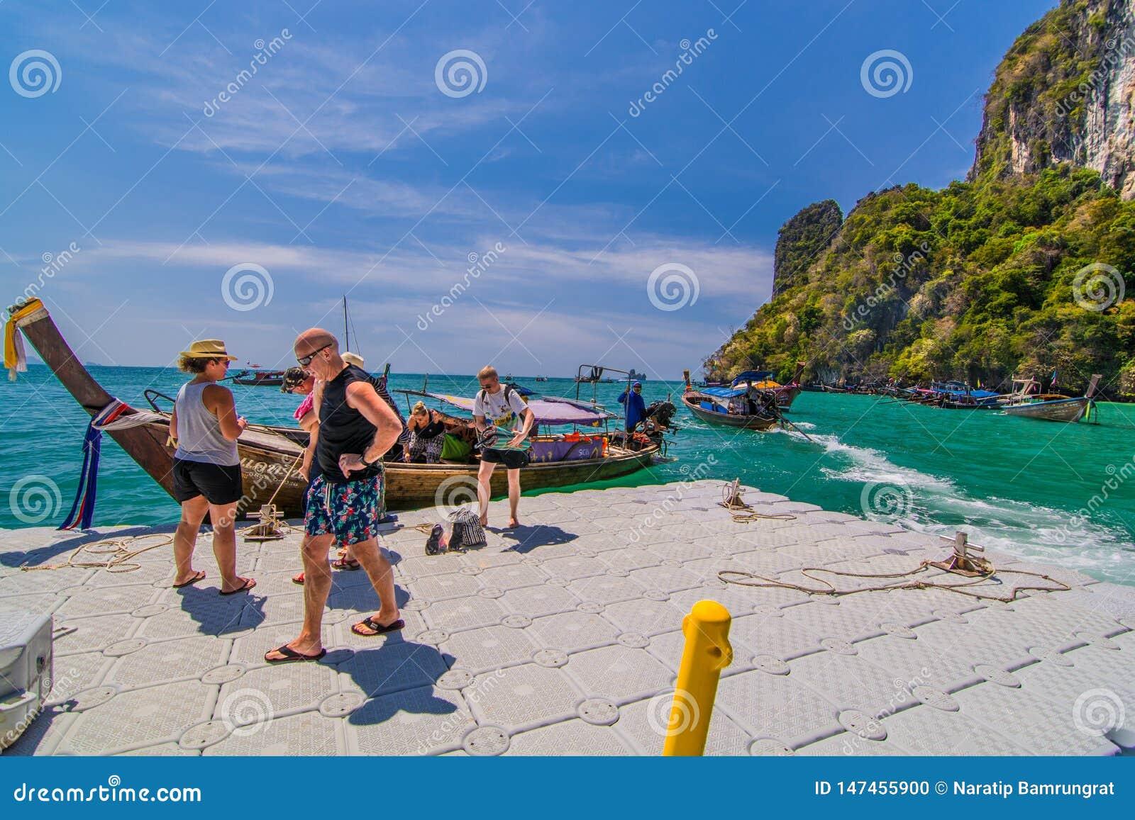 Krabi Thailand February 23 2019 Many Tourists Walking On A